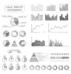 set of sketch business infographic elements vector image
