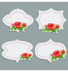 Set of vintage greeting cards with bright rose vector image