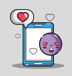 Smartphone with chat bubble emoji message vector