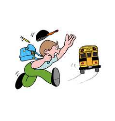 Student running to catch school bus hurry up late vector