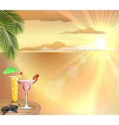 Sunset background with drinks vector image