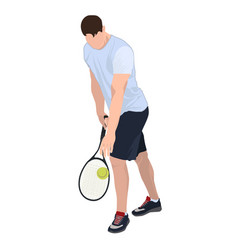 Tennis player with ball and racket flat vector