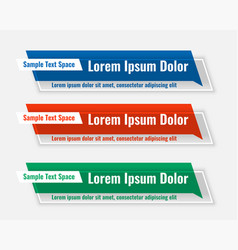 three lower third business wide banners set vector image