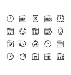time and calendar line icons business planning vector image