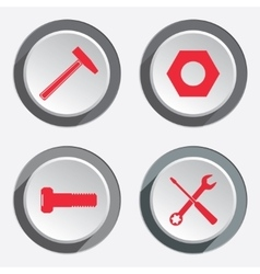 Tools icons set Screwdriver hammer wrench key vector