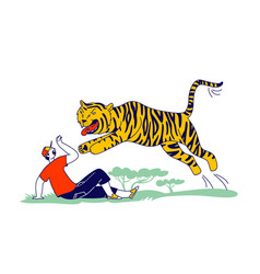 Tourist male character attacked with tiger vector
