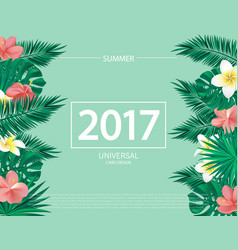 trendy summer banner poster with tropical flowers vector image