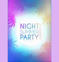 tropic night summer party design template palms vector image