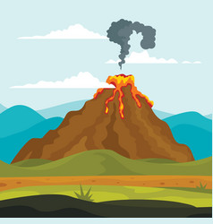 Volcano eruption lava banner concept flat style vector