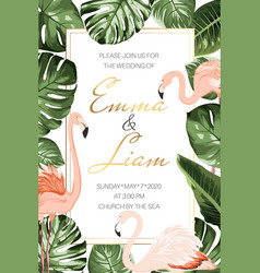 wedding marriage tropical event invitation card vector image