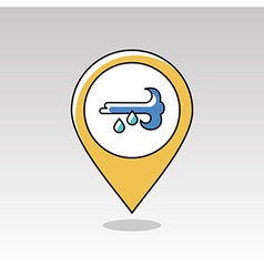 Wind Rain pin map icon Meteorology Weather vector