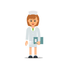 woman doctor with documents isolated physician vector image