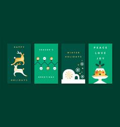 year gold geometric folk card set vector image
