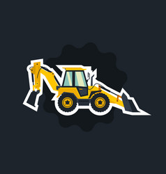 Yellow backhoe loader object circled white vector