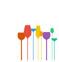 abstract wine glasses shapes colorful vector image vector image