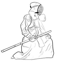 black and white sketch kendo samurai vector image vector image
