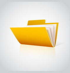 folder icon with paper on white vector image