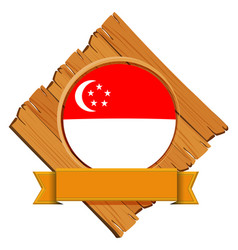 singapore flag on wooden board vector image vector image