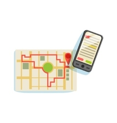 Smartphon And App To Plan The Running Route On The vector image vector image