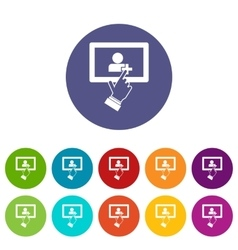 Touch screen tablet click set icons vector image