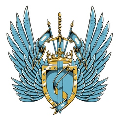 vintage crest with wings vector image