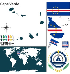 Cape Verde map world vector image vector image