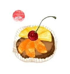 Hand drawn pastry with cherry vector image