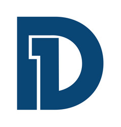 initial letter and number symbol d1 and 1d logo vector image vector image