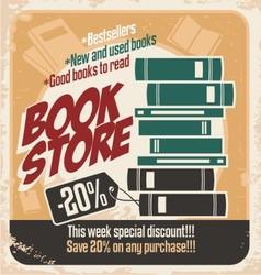 Retro bookstore poster design vector image
