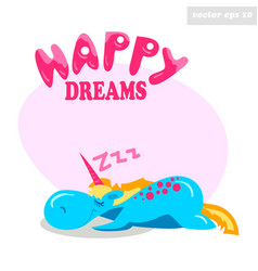 unny sleeping unicorn vector image