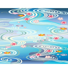 Beautiful-pool with blossoms floating on the vector image