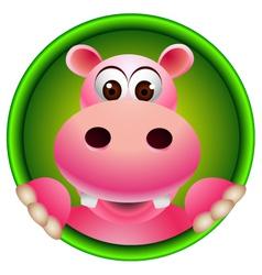 cute hippopotamus head cartoon vector image