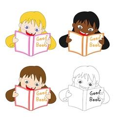Girl Read Good Book vector image