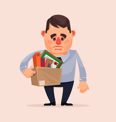 sad unhappy office worker character fired vector image vector image