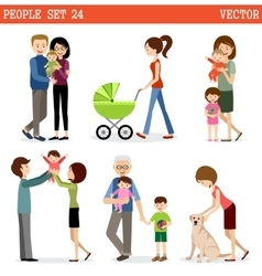 set of people with children vector image vector image