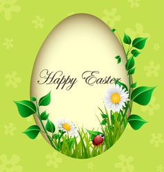 Easter egg card with plants and ladybug vector image vector image