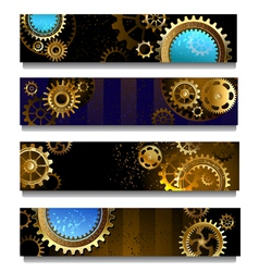 Four Banners with Gears vector image vector image