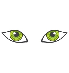 green eyes isolated over white vector image vector image