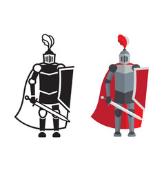 medieval knight icon and silhouette vector image