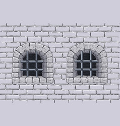 old brick wall with barred windows hand drawn vector image