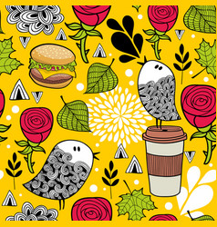 seamless pattern with doodle birds and fast food vector image vector image