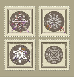 set of retro christmas postage stamps vector image vector image