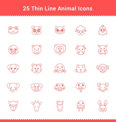 Set of Thin Line Stroke Animal Icons vector image vector image