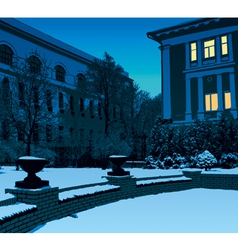 Winter evening in city vector image vector image