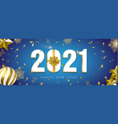 2021 new year banner gift holiday gold decoration vector image