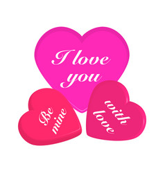 3d hearts on white background vector