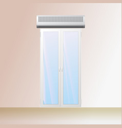 Air curtain over a doorway in the store vector