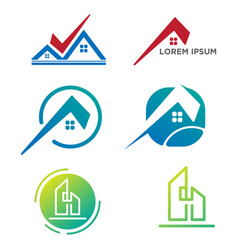 architect build creative logo set template vector image