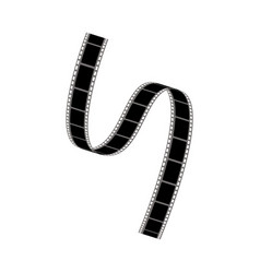 Black twisted or curly reeled off film strip with vector