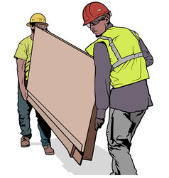 Building workers carrying wooden board vector